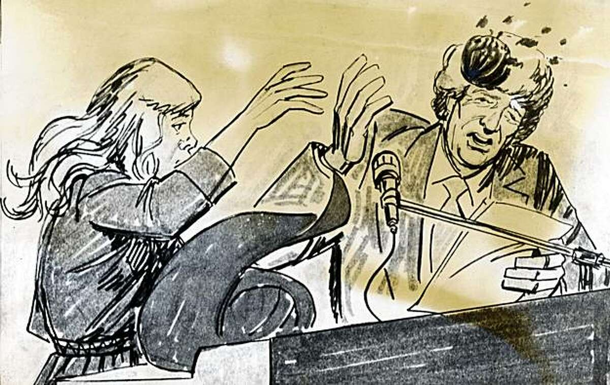 A courtroom artist's sketch shows Lynette Fromme (left) throwing an apple at U.S. Attorney Dwayne Keyes during a hearing in Sacramento, Calif., on December 17, 1975. Fromme was on trial for attempting to kill President Gerald Ford.