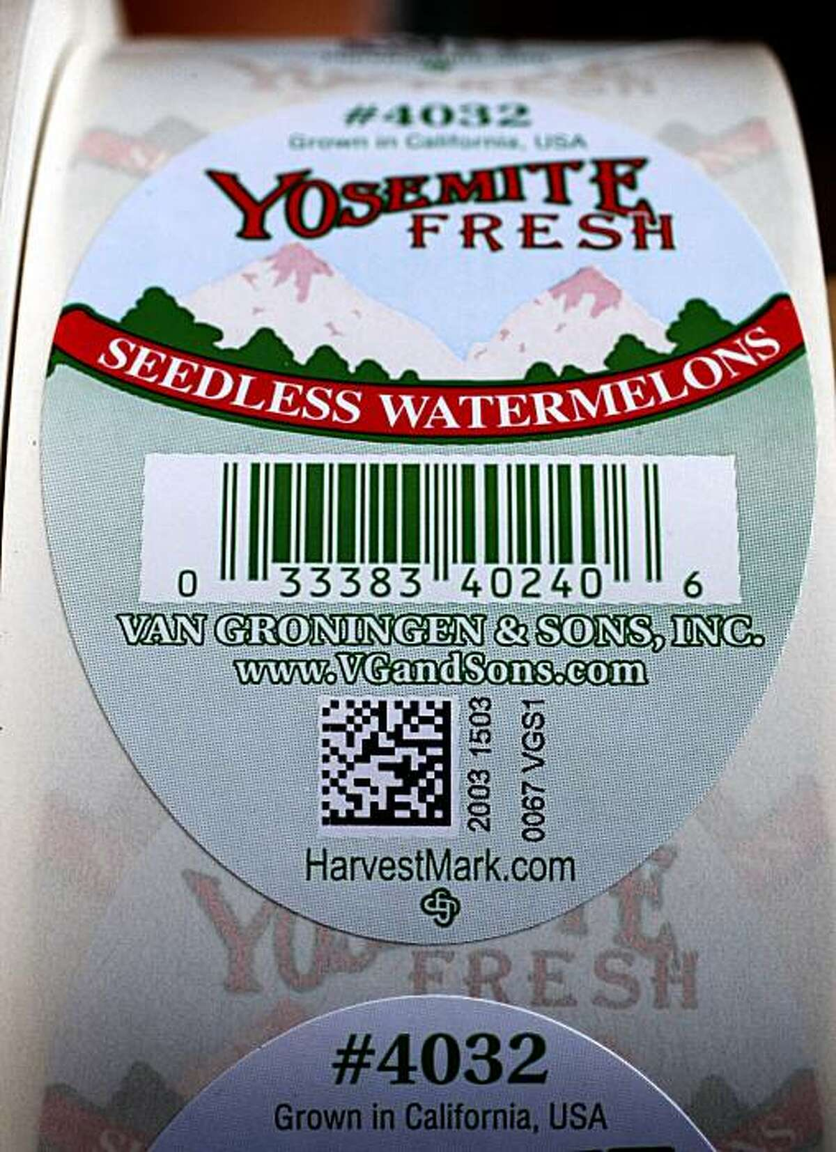A roll of HarvestMark tracking labels will be attached on watermelons at the Van Groningen & Sons produce company in Manteca, Calif., on Tuesday, July 28, 2009. The new bar code system helps consumers keep track of where and when produce was grown and processed in case of an E. coli outbreak.