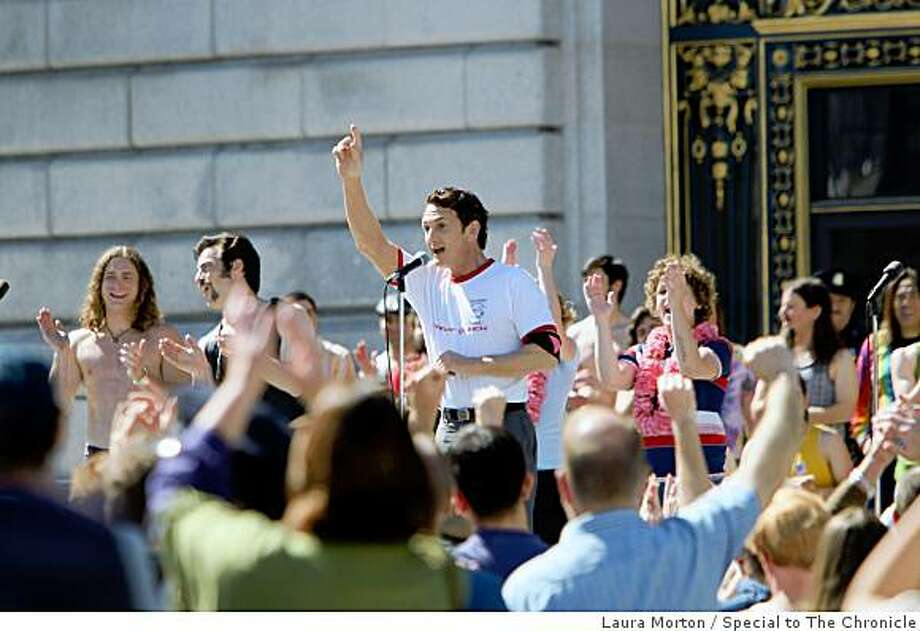 "Sean Penn plays Harvey Milk on the set of the movie ""Milk"" at Civic Center Plaza in San Francisco, Calif. on Sunday, March 09, 2008. Photo: Laura Morton, Special To The Chronicle"