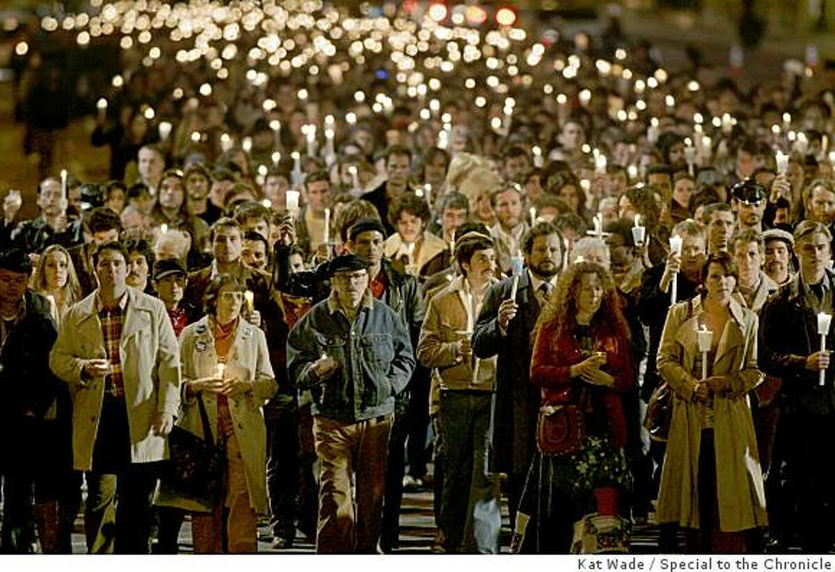 Thousands of local volunteer extras perform a faux candlelight vigil down Market Street for Harvey Milk for a scene in the film, Milk staring Sean Penn on Saturday, February 9, 2008 in San Francisco, Calif. The front row : includes former SF City Supervisor, Carol Ruth Silver, who plays Thelma (3rd from Left), former speechwriter to Harvey Milk, Frank M. Robinson (4th from Left), Howard Rosenman who plays