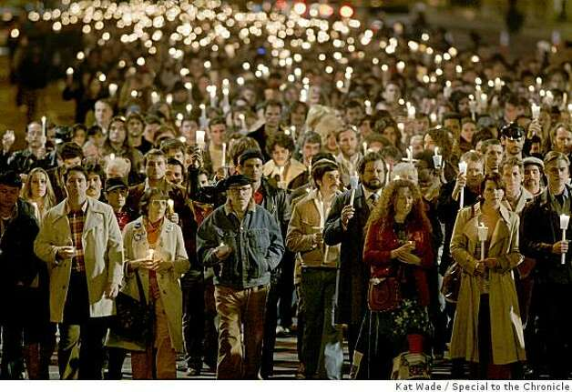"Thousands of local volunteer extras perform a faux candlelight vigil down Market Street for Harvey Milk for a scene in the film, Milk staring Sean Penn on Saturday, February 9, 2008 in San Francisco, Calif.  The front row : includes former SF City Supervisor, Carol Ruth Silver, who plays Thelma (3rd from Left), former speechwriter to Harvey Milk, Frank M. Robinson (4th from Left), Howard Rosenman who plays ""David Goodstein,""  (4th from right, beard) and Boyd Holbrook who plays ""Denton Smith"" (far right). Photo: Kat Wade, Special To The Chronicle"