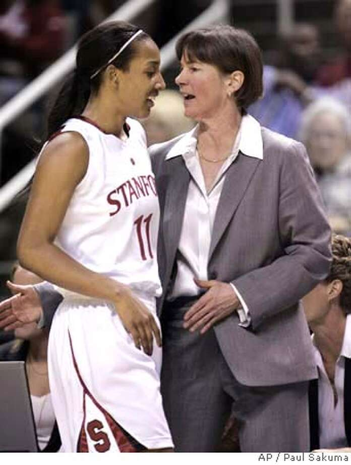 ###Live Caption:Stanford guard Candice Wiggins (11) is cheered on by head coach Tara VanDerveer, right, in the second half of the finals of the women's Pac-10 basketball tournament in San Jose, Calif., Monday, March 10, 2008. (AP Photo/Paul Sakuma)###Caption History:Stanford guard Candice Wiggins (11) is cheered on by head coach Tara VanDerveer, right, in the second half of the finals of the women's Pac-10 basketball tournament in San Jose, Calif., Monday, March 10, 2008. (AP Photo/Paul Sakuma)###Notes:Tara VanDerveer, Candice Wiggins###Special Instructions:EFE OUT Photo: Paul Sakuma