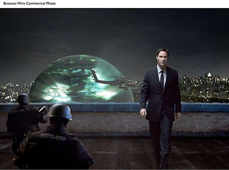Klaatu's (Keanu Reeves) arrival on Earth via a giant sphere, triggers a global upheaval. Photo: Twentieth Century Fox