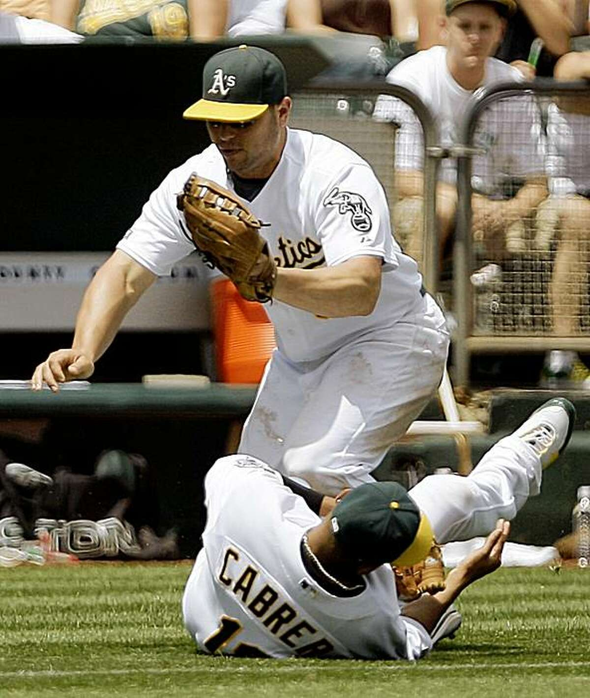 Oakland Athletics left fielder Matt Holliday, top, collides with shortstop Orlando Cabrera while both men attempt to field a ball hit by Los Angeles Angels' Reggie Willits in the third inning of a baseball game, Saturday, July 18, 2009, in Oakland, Calif. Holliday held on to the ball for the out. (AP Photo/Ben Margot)