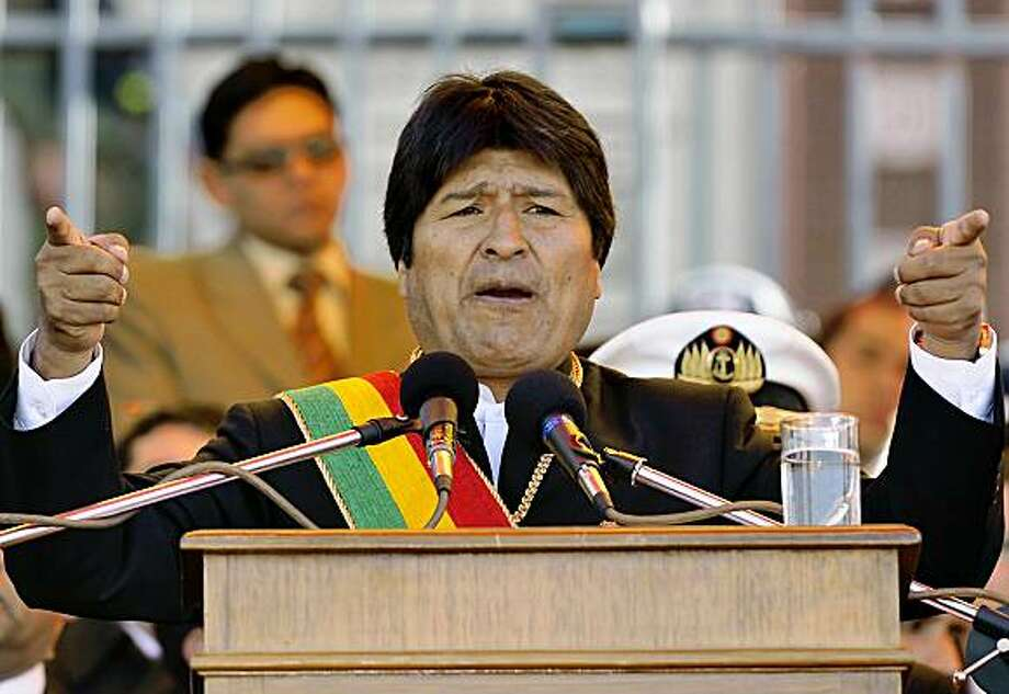 Bolivian President Evo Morales delivers a speech uring the official celebrations commemorating the bicentenary of Bolivia's first declaration of independence, in La Paz on July 16, 2009. After sixteen years of struggle for independence, Bolivia was finally declared an independent nation on August 6, 1825. AFP/PHOTO/Aizar Raldes (Photo credit should read AIZAR RALDES/AFP/Getty Images) Photo: Aizar Raldes, AFP/Getty Images