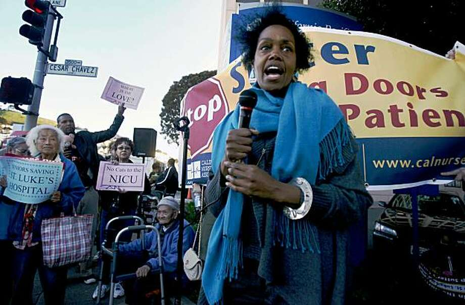 San Francisco Supervisor Sophie Maxwell adresses the crowd as a coalition of groups representing patients, doctors, nurses, neighbors and seniors gather in front of St. Luke's Hospital in San Francisco on Feb. 13, 2008 to protest the planned downgrading of the facility's neo-natal intensive care unit and longterm proposal to  close St. Luke's as a hospital.  Photo by Kim Komenich / San Francisco Chronicle Photo: Kim Komenich, The Chronicle