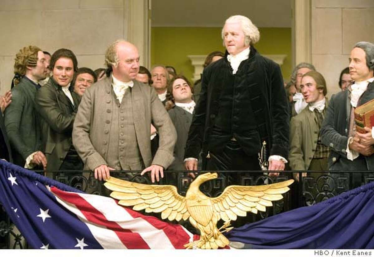 Paul Giamatti as John Adams, and David Morse as George Washington in HBO's John Adams. Photo: Kent Eanes