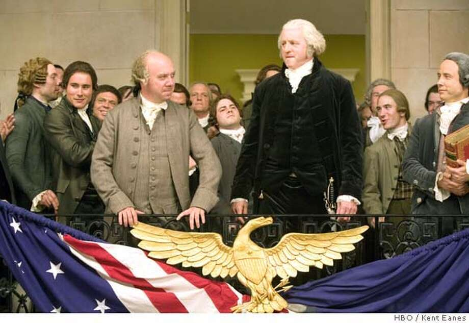 Paul Giamatti as John Adams, and David Morse as George Washington in HBO's John Adams. Photo: Kent Eanes Photo: Kent Eanes