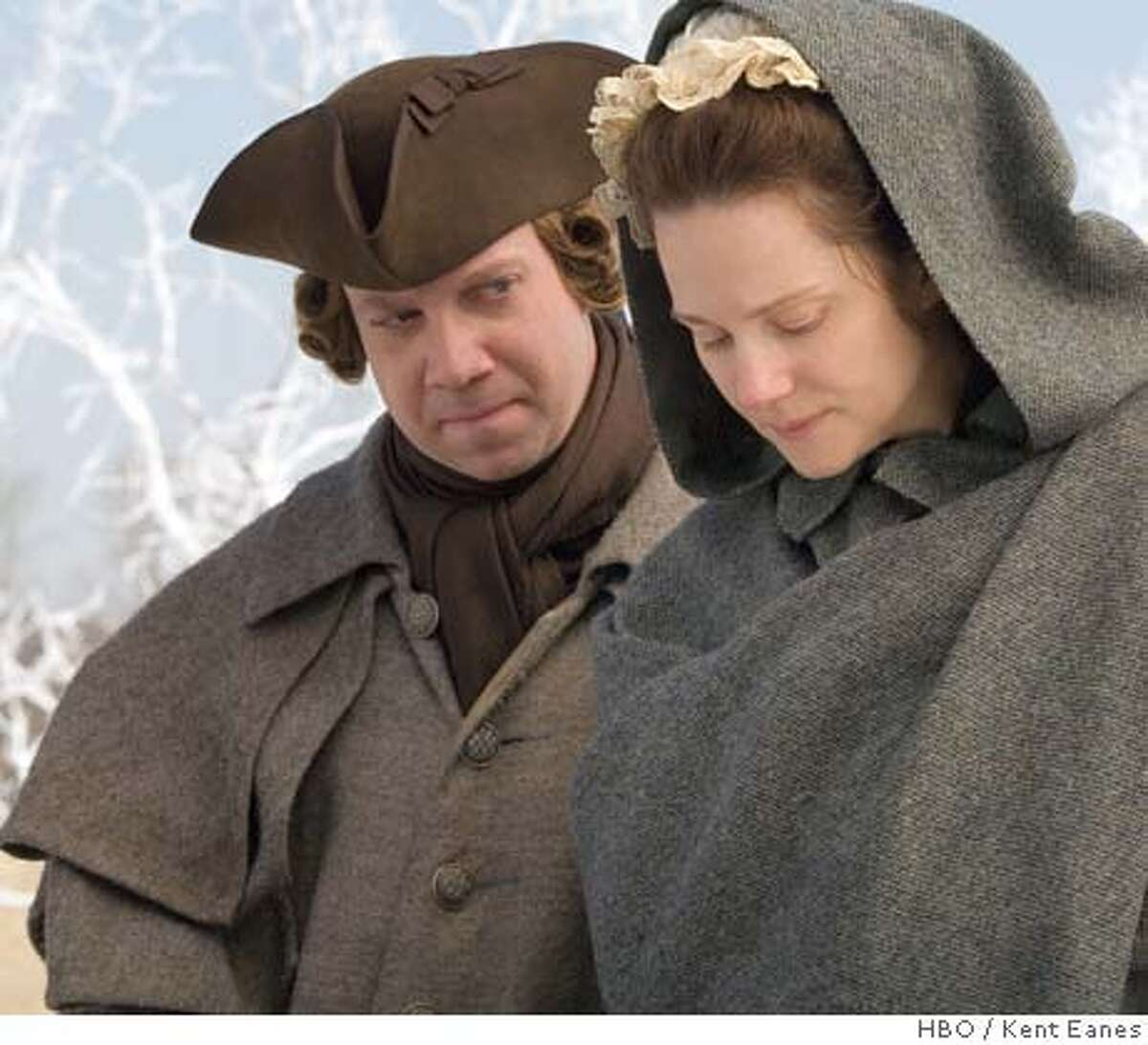 Paul Giamatti as John Adams, and Laura Linney as Mrs. John Adams in HBO's