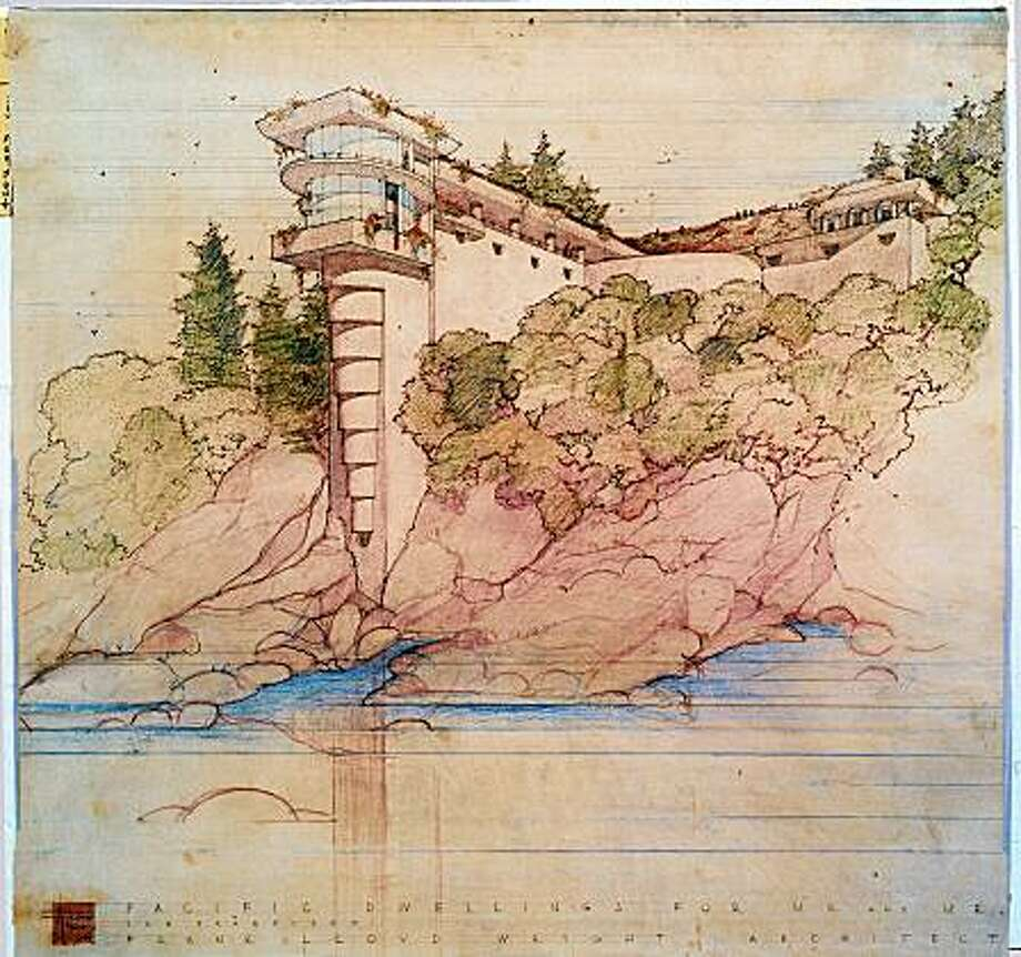 "This is a rendering done by Frank Lloyd Wright and his firm for a home that was to be built in San Francisco's Seacliff neighborhood for the V.C. Morris family. This was the first version. It is from ""Frank Lloyd Wright, the Collected Works, 1943-1959,"" published by Taschen. Photo: Frank Lloyd Wright Foundation, Scottsdale, Arizona"