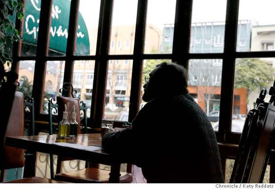David Klein enjoys a quiet lunch at Caffe Giovanni, at 2420 Shattuck Ave., the main street through downtown Berkeley, Calif. on Thursday, March 6, 2008. Photo by Katy Raddatz / The San Francisco Chronicle Photo: KATY RADDATZ