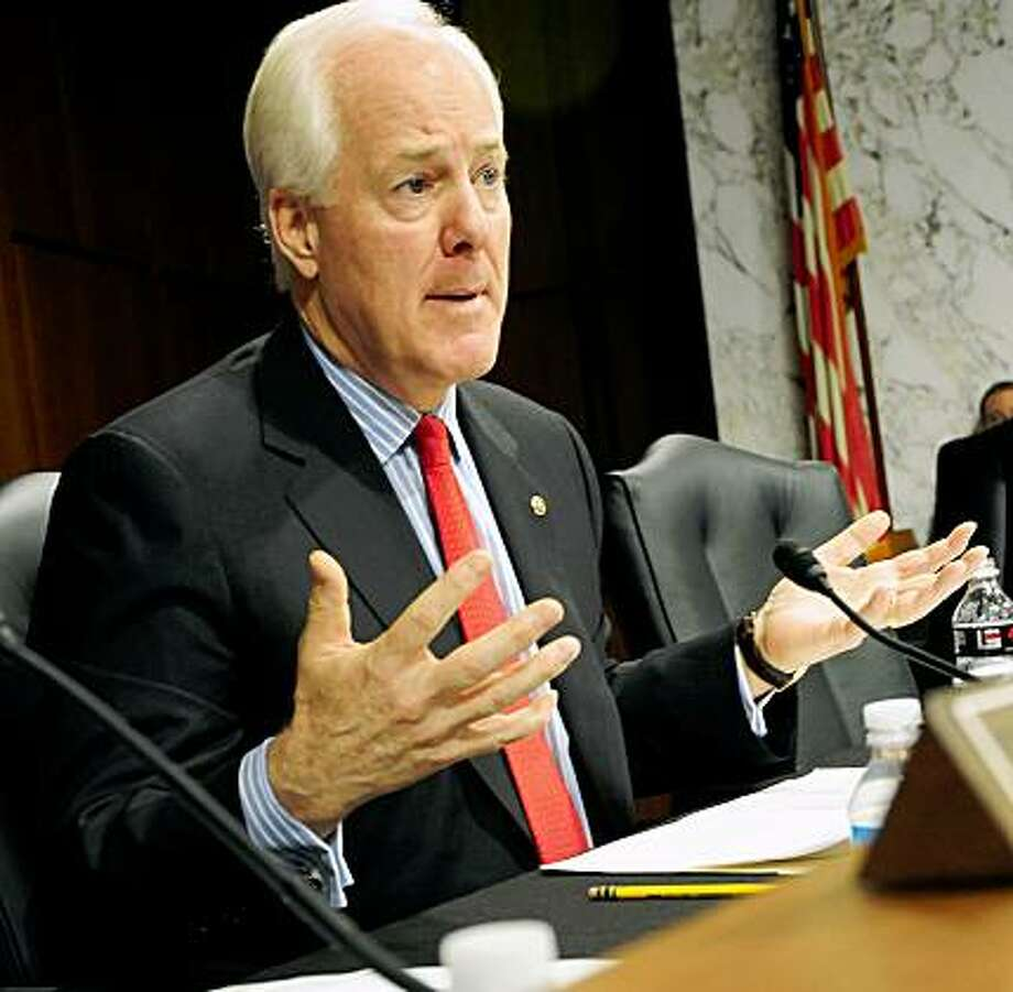 US Sen. John Cornyn,R-TX,, questions US Supreme Court Nominee Sonia Sotomayor  on July 16, 2009 during the fourth day of confirmation hearings before the Senate Judiciary Committee on Capitol Hill in Washington, DC. AFP PHOTO/Karen BLEIER (Photo credit should read KAREN BLEIER/AFP/Getty Images) Photo: Karen Bleier, AFP/Getty Images