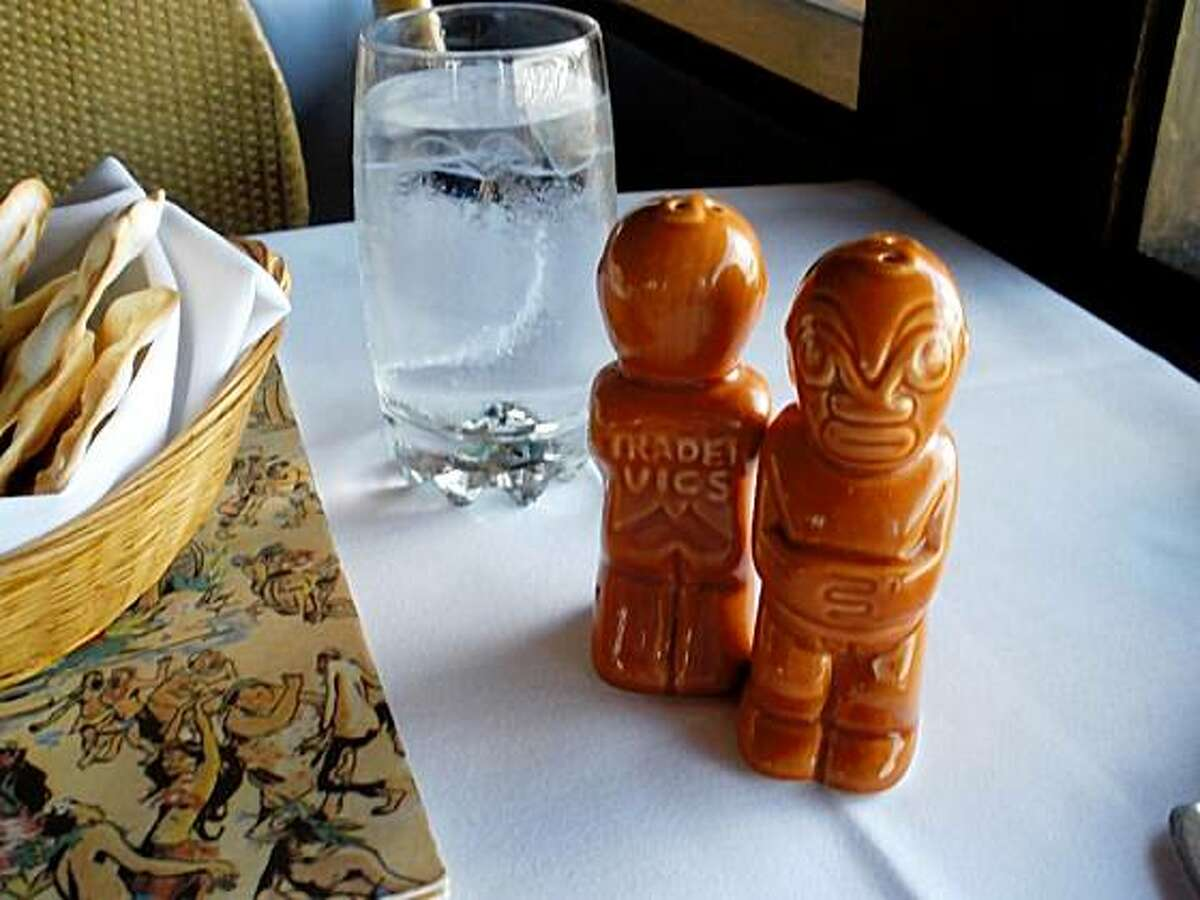 The Tiki salt and pepper shakers at Trader Vic's