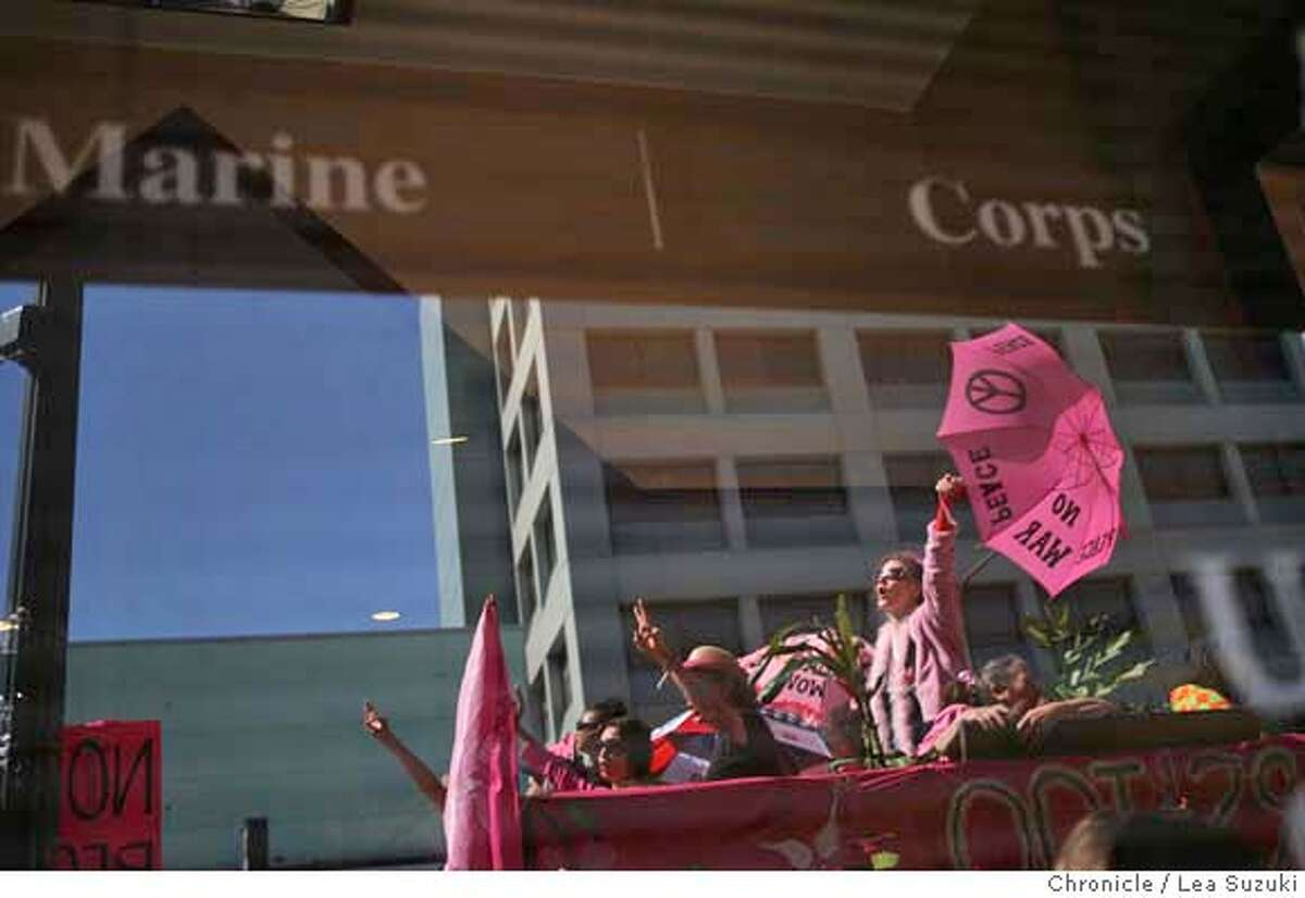 ###Live Caption:Code pink begins a week long camp and demonstartion in front of the U.S. Marine Corps recruiting station in Berkeley on March 2, 2008 in Berkeley, CA. Photo by Lea Suzuki / San Francisco Chronicle###Caption History:Code pink begins a week long camp and demonstartion in front of the U.S. Marine Corps recruiting station in Berkeley on March 2, 2008 in Berkeley, CA. Photo by Lea Suzuki / San Francisco Chronicle###Notes:###Special Instructions:�2007, San Francisco Chronicle MANDATORY CREDIT FOR PHOTOG AND SAN FRANCISCO CHRONICLE/NO SALES-MAGS OUT