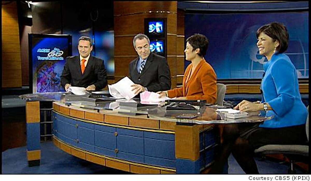 The same crew that anchors the CBS-5 (KPIX) news at 11 p.m. news just started anchoring a 30-minute newscast at 10 p.m. weeknights on its sister station, CW 44/Cable12 (KBCW-TV). From left to right: Dennis O'Donnell, Ken Bastida, Dana King, and Roberta Gonzales. (A different team, including Ann Notarangelo, Lawrence Karnow and Rick Quan and O'Donnell works weekends.)