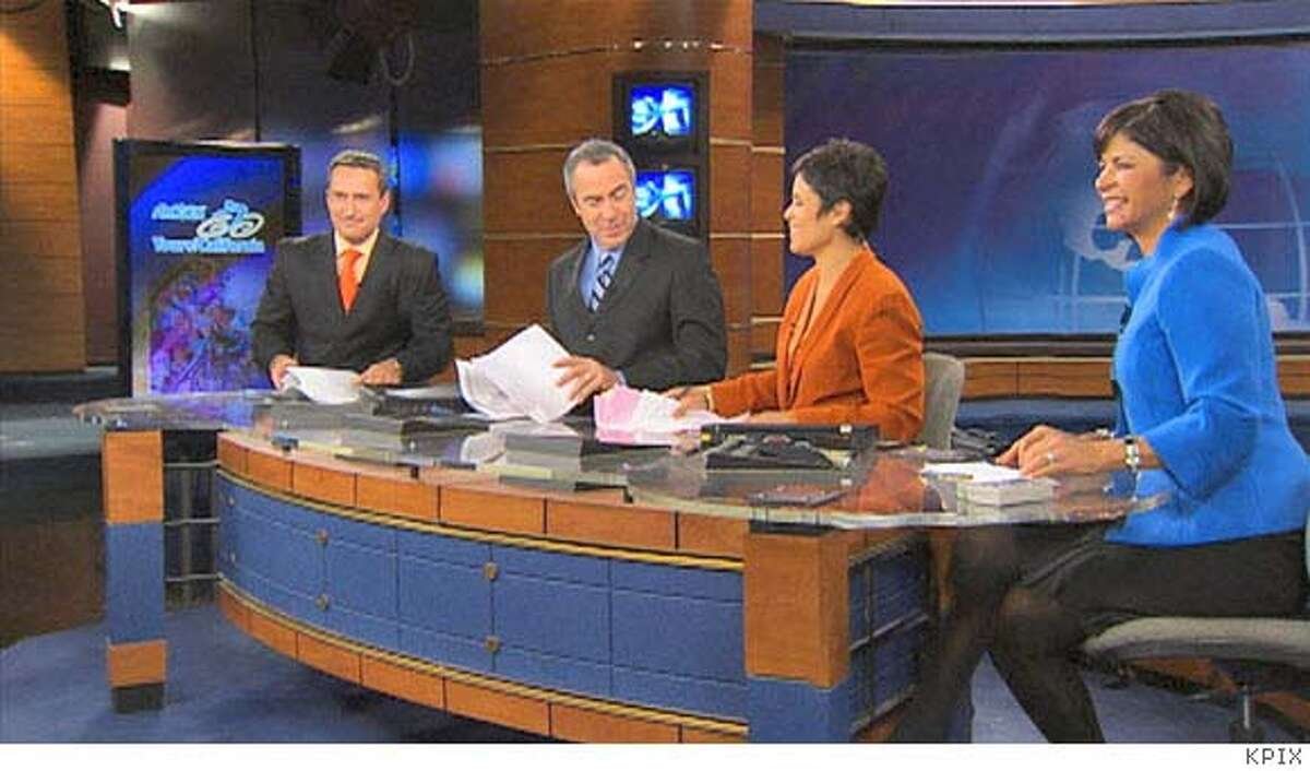 The crew that anchors the CBS5-TV 11 p.m. newscast - Dennis O'Donnell (from left), Ken Bastida, Dana King and Roberta Gonzales - will also do a 30-minute newscast at 10 p.m. on CW44/Cable 12. Photo courtesy of CBS5 (KPIX)