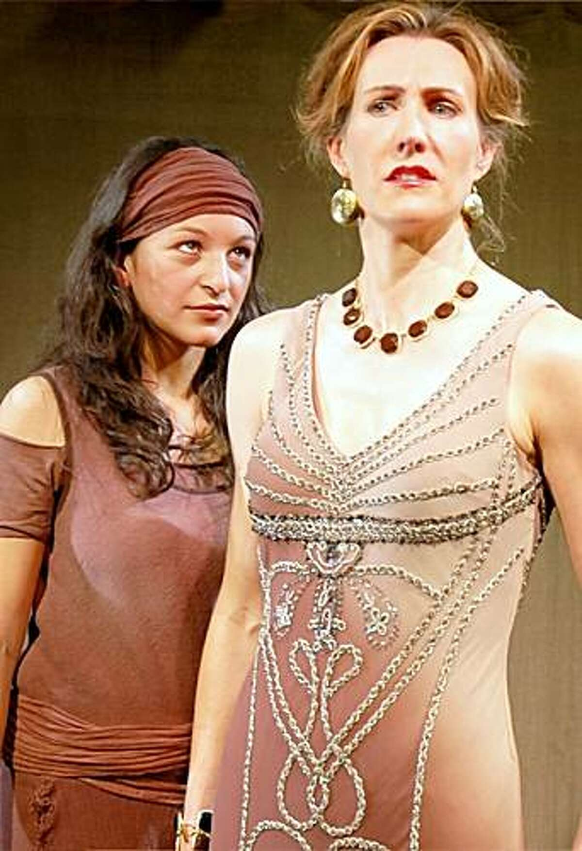 Valentina Conde (left, accent / over e in Conde) plays the vengeful Electra and Courtney Walsh is her ill-fated mother Clytemnestra in Stanford Summer Theater's staging of Sophocles'