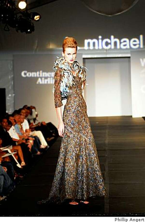 A fall 2009 look from b michael. Michael is a featured designer at Fashion on the Square July 25. Photo: Phillip Angert
