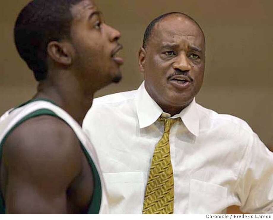 ###Live Caption:adf###Caption History:USF_0174_fl.jpg USF basketball coach Jessie Evans with Sinqua Walls during picture days for USF BB at the Memorial Gymnasium, USF campus. 10/15/04 San Francisco CA Frederic Larson The San Francisco Chronicle Ran on: 10-16-2004  Jessie Evans, talking with Sinqua Walls on Friday, won a national championship with Lute Olson at Arizona. Ran on: 01-09-2005  USF coach Jessie Evans knows his team will be against the odds when the Dons take on Pepperdine in Malibu. Ran on: 03-09-2005  Jessie Evans' regular season ended with a 2nd-round loss to Santa Clara in the WCC tournament. Ran on: 03-09-2005  Jessie Evans' regular season ended with a 2nd-round loss to Santa Clara in the WCC tournament.###Notes:###Special Instructions: Photo: Frederic Larson