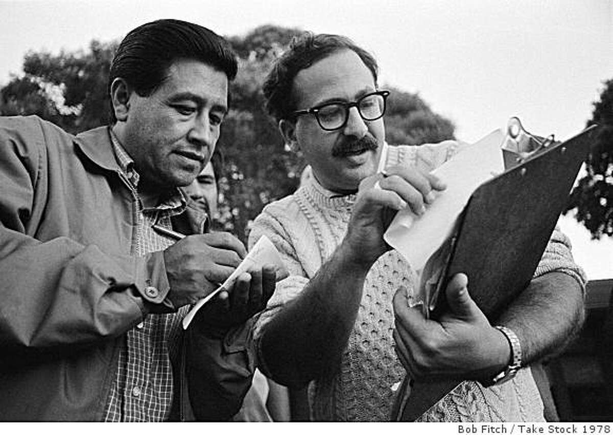 Cesar Chavez with chief organizer Marshall Ganz whose recent book credits Chavez with the UFW's success and its decline. Photographer credit and year are TK.