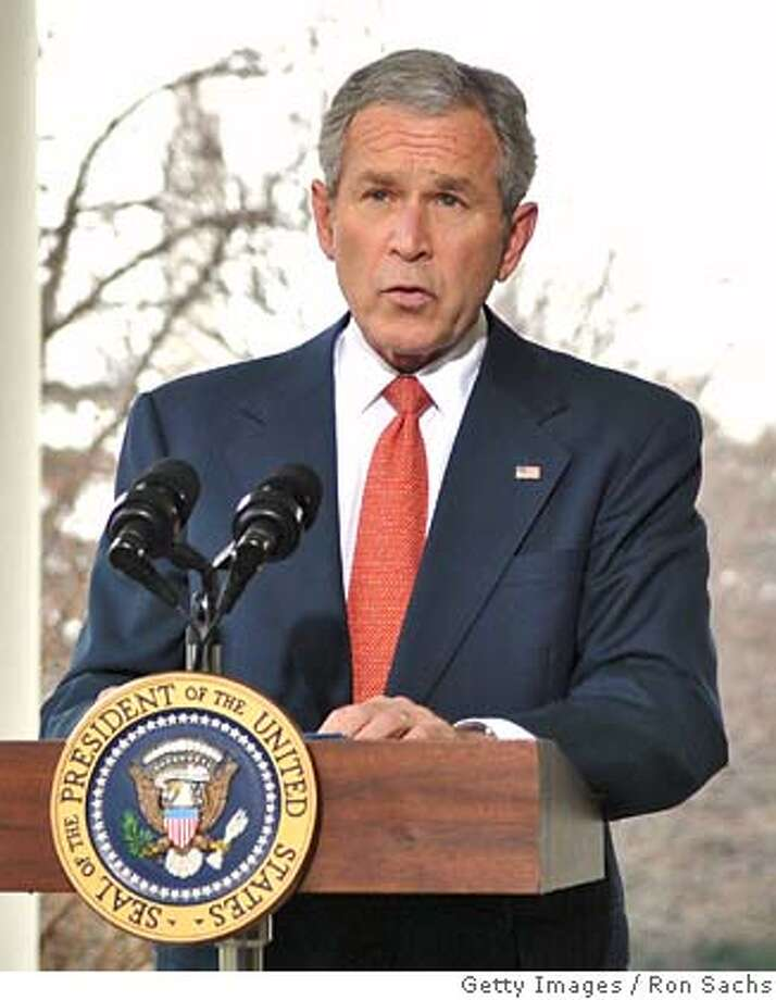 ###Live Caption:WASHINGTON - MARCH 7: (AFP OUT) U.S. President George W. Bush makes a statement on the economy on the Colonnade of the White House March 7, 2008 in Washington, D.C. The Labor Department reported that employers cut 63,000 jobs in February, the most in five years and a sign the economy may already be in recession. (Photo by Ron Sachs-Pool/Getty Images)###Caption History:WASHINGTON - MARCH 7: (AFP OUT) U.S. President George W. Bush makes a statement on the economy on the Colonnade of the White House March 7, 2008 in Washington, D.C. The Labor Department reported that employers cut 63,000 jobs in February, the most in five years and a sign the economy may already be in recession. (Photo by Ron Sachs-Pool/Getty Images)###Notes:President Bush Makes Statement On Economy###Special Instructions:AFP OUT Photo: Pool