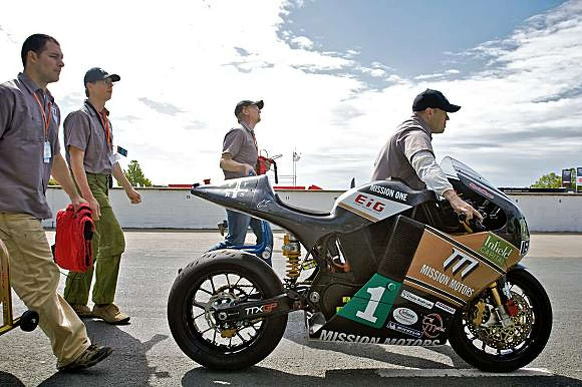 The Mission One electric motorcycle from Mission Motors of San Francisco competes in a special TTXGP