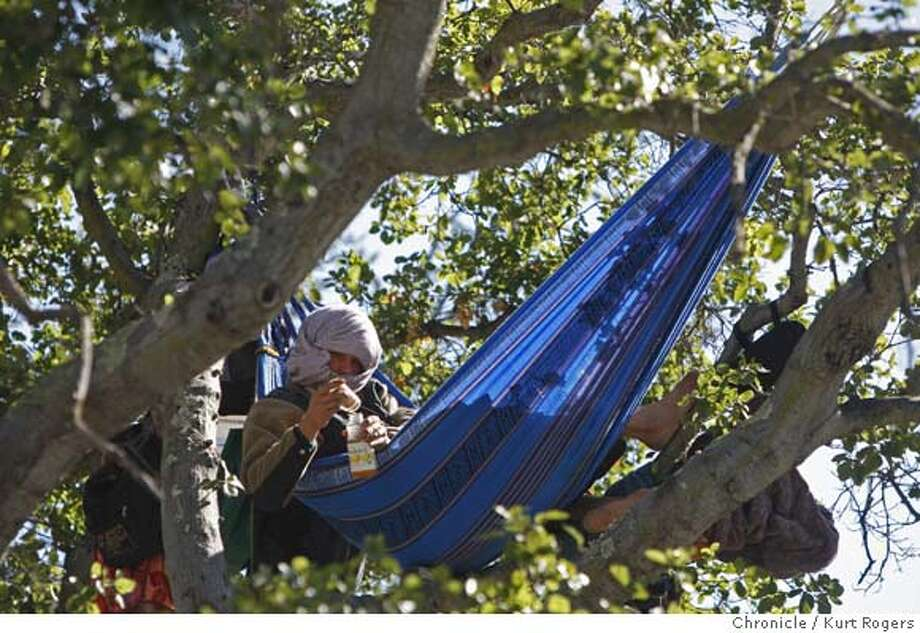 ###Live Caption:Fresh, a tree sitter who has taken over an oak tree between Wheeler Hall and Sather Gate on the UC Berkeley Campus, sits in a hammock in Berkeley, Calif., on Wednesday March 5, 2008. He is protesting a broad range of the university's actions - from Cal's deals with BP and Dow Chemical to how it treats campus custodians and Indian remains.  Photo by Kurt Rogers / San Francisco Chronicle###Caption History:Fresh a tree sitter who has taken over an Oak tree between Wheeler Hall and Sather Gate on the UC Berkeley Campus .He is protesting the Cal Stadium proposal and the way Regents conduct business on Wednesday Mar 5, 2008.  Photo By Kurt Rogers / San Francisco Chronicle###Notes:One man protest on the UC Berkeley campus .###Special Instructions:MANDATORY CREDIT FOR PHOTOG AND SAN FRANCISCO CHRONICLE/NO SALES-MAGS OUT Photo: Kurt Rogers