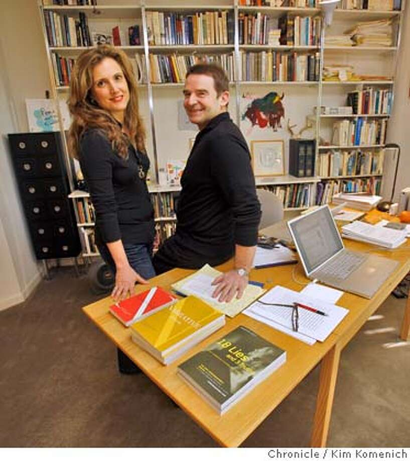 "Co-editors Carol Edgarian, left and Tom Jenks work on ""Narrative"" Magazine in their San Francisco home on Feb. 26, 2008. Jenks founded the magazine five years ago to see there was interest in strong literary writing on the Internet. Today ""Narrative"" has more than 32,000 online readers.  Photo by Kim Komenich / San Francisco Chronicle Photo: KIM KOMENICH"