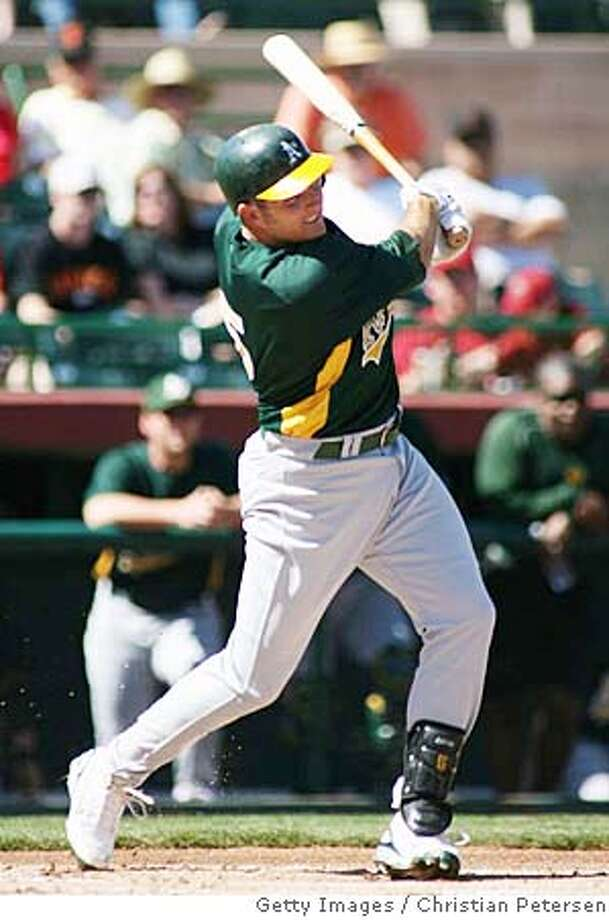 ###Live Caption:SCOTTSDALE, AZ - MARCH 01: Mike Sweeney #5 of the Oakland Athletics hits an RBI double against the San Francisco Giants during the first inning of a spring training game at Scottsdale Stadium March 1, 2008 in Scottsdale, Arizona. (Photo by Christian Petersen/Getty Images)###Caption History:SCOTTSDALE, AZ - MARCH 01: Mike Sweeney #5 of the Oakland Athletics hits an RBI double against the San Francisco Giants during the first inning of a spring training game at Scottsdale Stadium March 1, 2008 in Scottsdale, Arizona. (Photo by Christian Petersen/Getty Images)###Notes:Oakland A's v San Francisco Giants###Special Instructions: Photo: Christian Petersen