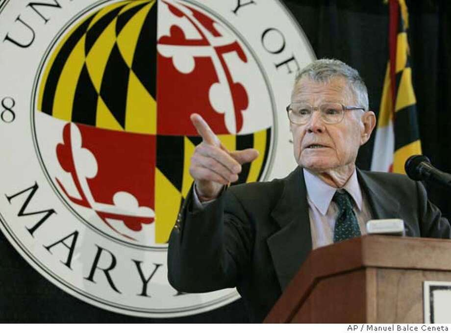 ###Live Caption:Thomas C. Schelling, University of Maryland emeritus distinguished university professor in the Department of Economics and and School Public Policy, speaks to the media during a press conference in the University of Maryland Campus, Monday, Oct. 10, 2005, in College Park, Md. Schelling and Robert J. Aumann, won the 2005 Nobel Memorial Prize in Economic Sciences on Monday for their work in game theory that explains political and economic conflicts, arms races and even preventing warfare.  (AP Photo/Manuel Balce Ceneta)###Caption History:Thomas C. Schelling, University of Maryland emeritus distinguished university professor in the Department of Economics and and School Public Policy, speaks to the media during a press conference in the University of Maryland Campus, Monday, Oct. 10, 2005, in College Park, Md. Schelling and Robert J. Aumann, won the 2005 Nobel Memorial Prize in Economic Sciences on Monday for their work in game theory that explains political and economic conflicts, arms races and even preventing warfare. (AP Photo/Manuel Balce Ceneta) Ran on: 10-11-2005  Thomas Schelling used game theory to focus on how the United States and the Soviet Union maintained credible threats.###Notes:###Special Instructions: Photo: MANUEL BALCE CENETA