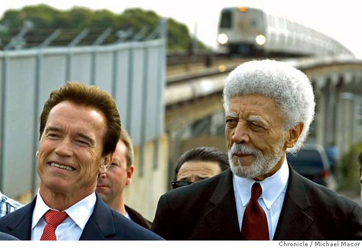 ###Live Caption:California Governor Arnold Schwarzenegger,left, used the West Portal tunnel of the BART system in Oakland, Calif., on Mar. 7,2008,to annonce that BART and other state transit agencies are about to receive millions of dollars from the 2008 installment from voter approved Proposition 1B funds, which enacted the Highway Safety, Traffic Reduction, Air Quality, and Port Security Bond Act of 2006, on Mar. 7, 2008. Photo by Michael Macor/ San Francisco Chronicle###Caption History:California Governor Arnold Schwarzenegger,left, used the West Portal tunnel of the BART system in Oakland, Calif., on Mar. 7,2008,to annonce that BART and other state transit agencies are about to receive millions of dollars from the 2008 installment from voter approved Proposition 1B funds, which enacted the Highway Safety, Traffic Reduction, Air Quality, and Port Security Bond Act of 2006, on Mar. 7, 2008. Photo by Michael Macor/ San Francisco Chronicle###Notes:California Governor Arnold Schwarzenegger will use BART as his venue to announce the millions of dollars that BART and other state transit systems are about to receive from the state. The money is the 2008 installment from voter approved Proposition 1B f###Special Instructions:Mandatory credit for Photographer and San Francisco Chronicle No sales/ Magazines Out