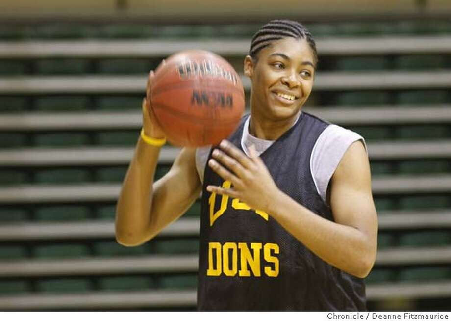 ###Live Caption:USF senior Dominique Carter takes practice in the gym at the University of San Francisco. February 27, 2008 in San Francisco, Calif. Photo by Deanne Fitzmaurice / San Francisco Chronicle###Caption History:USF senior Dominique Carter takes practice in the gym at the University of San Francisco. February 27, 2008 in San Francisco, Calif. Photo by Deanne Fitzmaurice / San Francisco Chronicle###Notes:###Special Instructions:Mandatory credit for photographer and San Francisco Chronicle. No Sales/Magazines out. Photo: Deanne Fitzmaurice