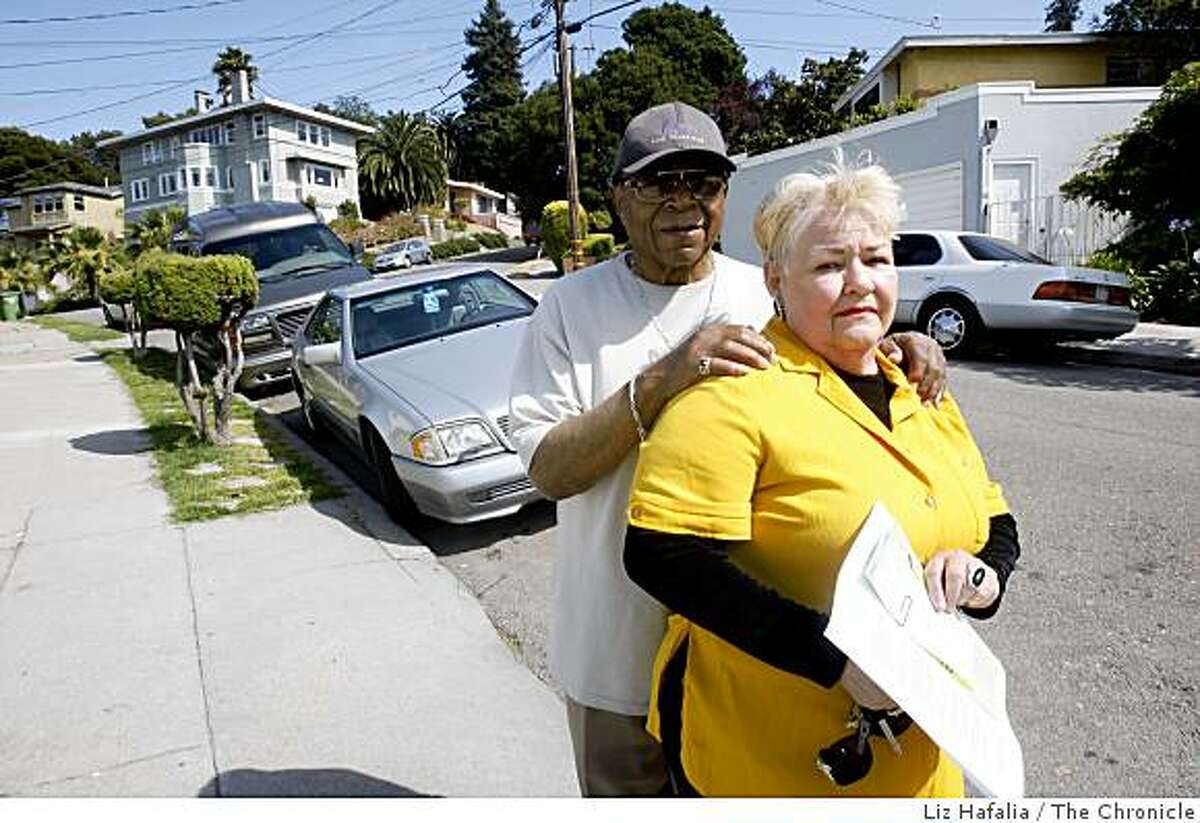 George and Nora Lee Alexander, an elderly couple who recently got a parking ticket for facing their car the wrong way on the street in Oakland, Calif., on Friday, July 10, 2009.