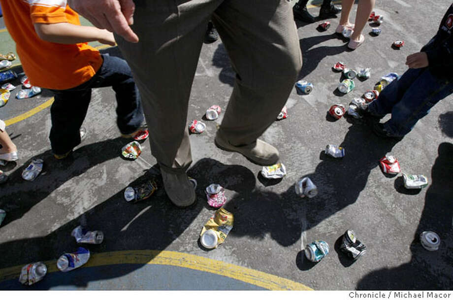 The aluminium can crush is on at John Muir Elementary School in San Francisco, Calif., on Mar. 8, 2008. Photo by Michael Macor/ San Francisco Chronicle Photo: Michael Macor