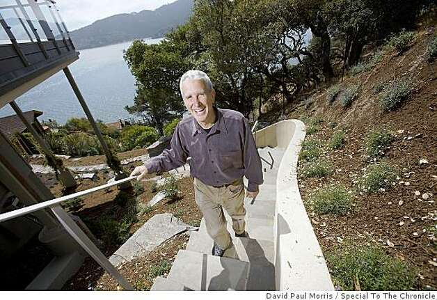 Frank Levinson walks up the back steps at his eco-friendly home July 2, 2009 in Tiburon, Calif. (Photograph by David Paul Morris/Special to The Chronicle) Photo: David Paul Morris, Special To The Chronicle