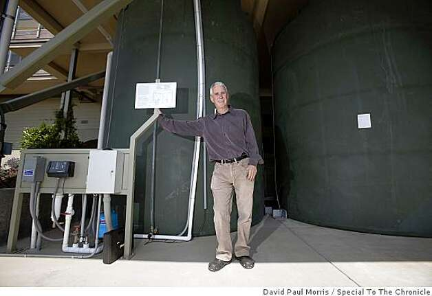 The two 15,0000 gallon-cisterns store enough rainwater in winter to water the landscape and garden throughout the summer. Photo: David Paul Morris, Special To The Chronicle