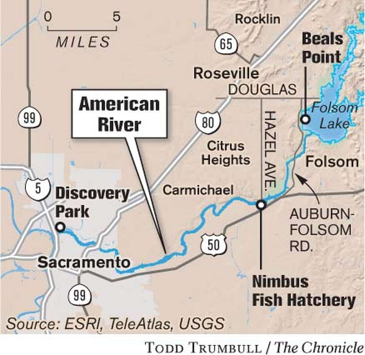 American River. Chronicle graphic by Todd Trumbull