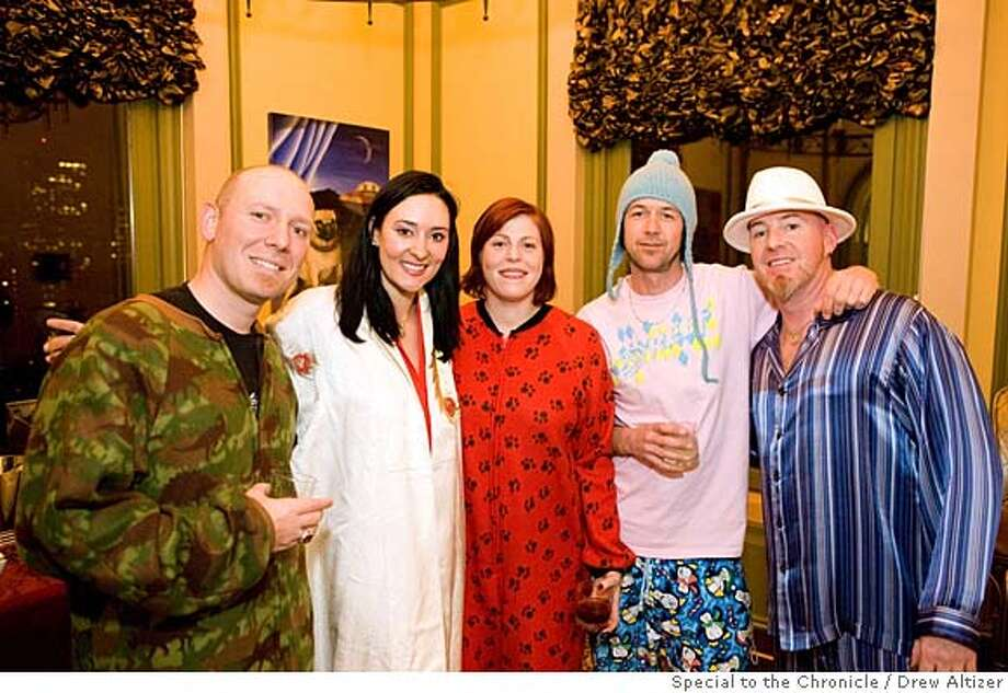 In their jammies: (left to right) Josh Keppel, Amber Marie Bently, Amy Berger, Nathan Hawking and Christopher Bently at the Bently's home for a recent pajama party. ALL NAMES CQ'd Photo: Carolyne Zinko