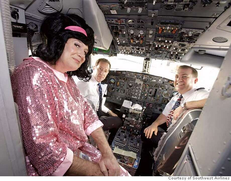 "###Live Caption:(NYT80) UNDATED -- Feb. 12, 2008 -- SOUTHWEST-AIR-CULTURE -- Gary Kelly, Southwest Airlines Chief Executive Officer dressed for Halloween as Edna Turnblad -- the mom from the movie and play ""Hairspray"" -- during a flight to Austin, Texas, Oct. 31, 2007. While on the plane Kelly distributed candy to passengers and the flight crew. (Courtesy of Southwest Airlines/The New York Times)###Caption History:(NYT80) UNDATED -- Feb. 12, 2008 -- SOUTHWEST-AIR-CULTURE -- Gary Kelly, Southwest Airlines Chief Executive Officer dressed for Halloween as Edna Turnblad -- the mom from the movie and play ""Hairspray"" -- during a flight to Austin, Texas, Oct. 31, 2007. While on the plane Kelly distributed candy to passengers and the flight crew. (Courtesy of Southwest Airlines/The New York Times) *Editorial use Only. Only for use with NYT story by Jeff Bailey entitled SOUTHWEST-AIR-CULTURE. All other use strictly prohibited.###Notes:SOUTHWEST AIR CULTURE###Special Instructions:*Editorial use Only. Only for use with NYT story by Jeff Bailey entitled SOUTHWEST-AIR-CULTURE. All other use strictly prohibited. Photo: Southwest Airlines"