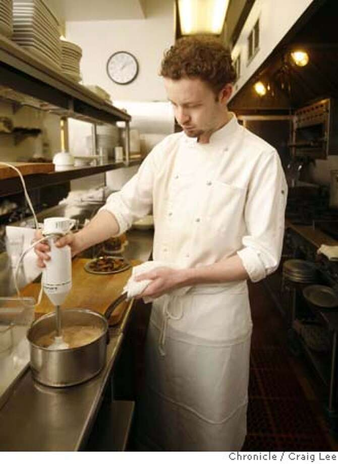###Live Caption:Ian Begg, chef at Cafe Majestic, 1500 Sutter Street, making his dish, Cream of Mushroom Soup.  photo by Craig Lee / The Chronicle###Caption History:Ian Begg, chef at Cafe Majestic, 1500 Sutter Street, making his dish, Cream of Mushroom Soup.  photo by Craig Lee / The Chronicle###Notes:Craig Lee 415-218-8597 clee@sfchronicle.com###Special Instructions:MANDATORY CREDIT FOR PHOTOG AND SF CHRONICLE/NO SALES-MAGS OUT Photo: Photo By Craig Lee