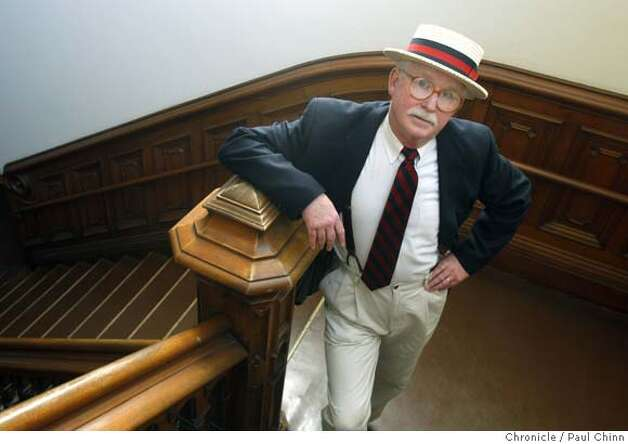 ... wears a boater-style hat inside UC Berkeley's South Hall in Berkeley, ...
