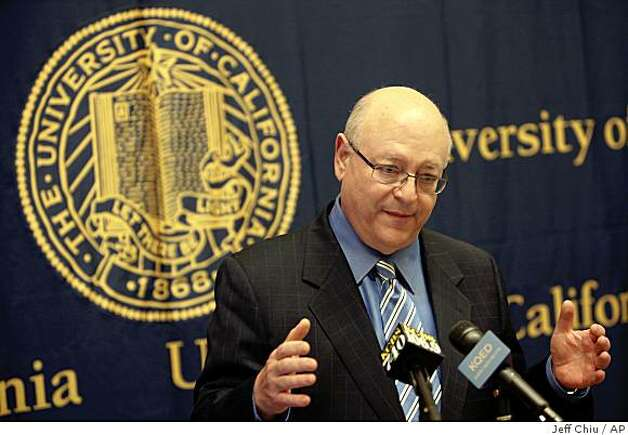 In this May 7, 2009 file photo, UC President Mark Yudof speaks at a University of California Board of Regents news conference in San Francisco, Thursday, May 7, 2009. Yudof released a plan Friday, July 10, 2009, to cut pay and impose furloughs on tens of thousands of UC employees to offset deep funding cuts to the 10-campus system. (AP Photo/Jeff Chiu, file) Photo: Jeff Chiu, AP