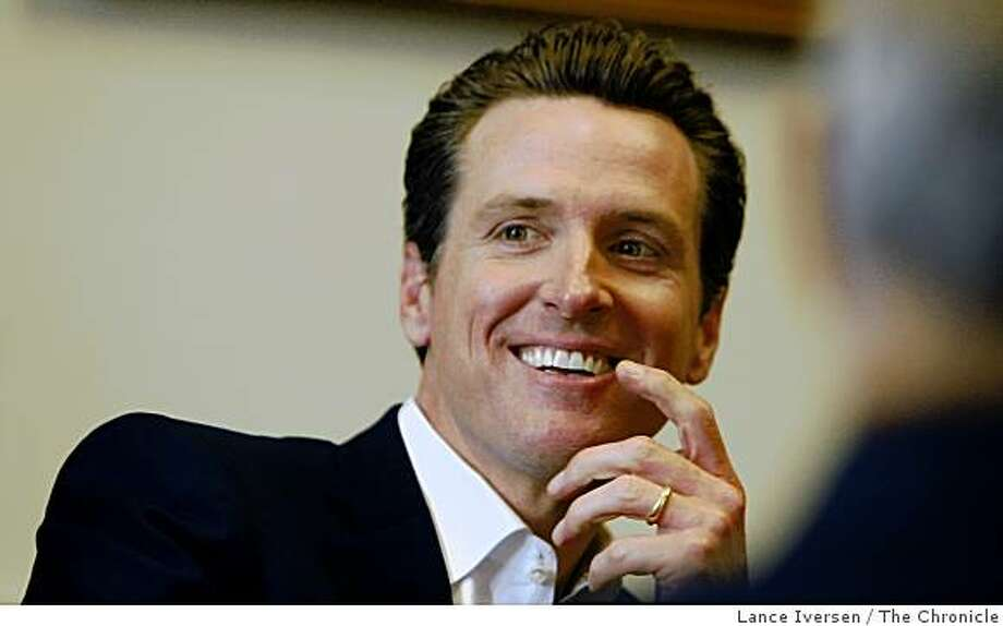 Gubernatorial hopeful San Francisco Mayor Gavin Newsom talks with some of the senior staff members of San Quentin Prison who explains some of their unique problems trying to run an old prison. Friday June 19, 2009 Photo: Lance Iversen, The Chronicle