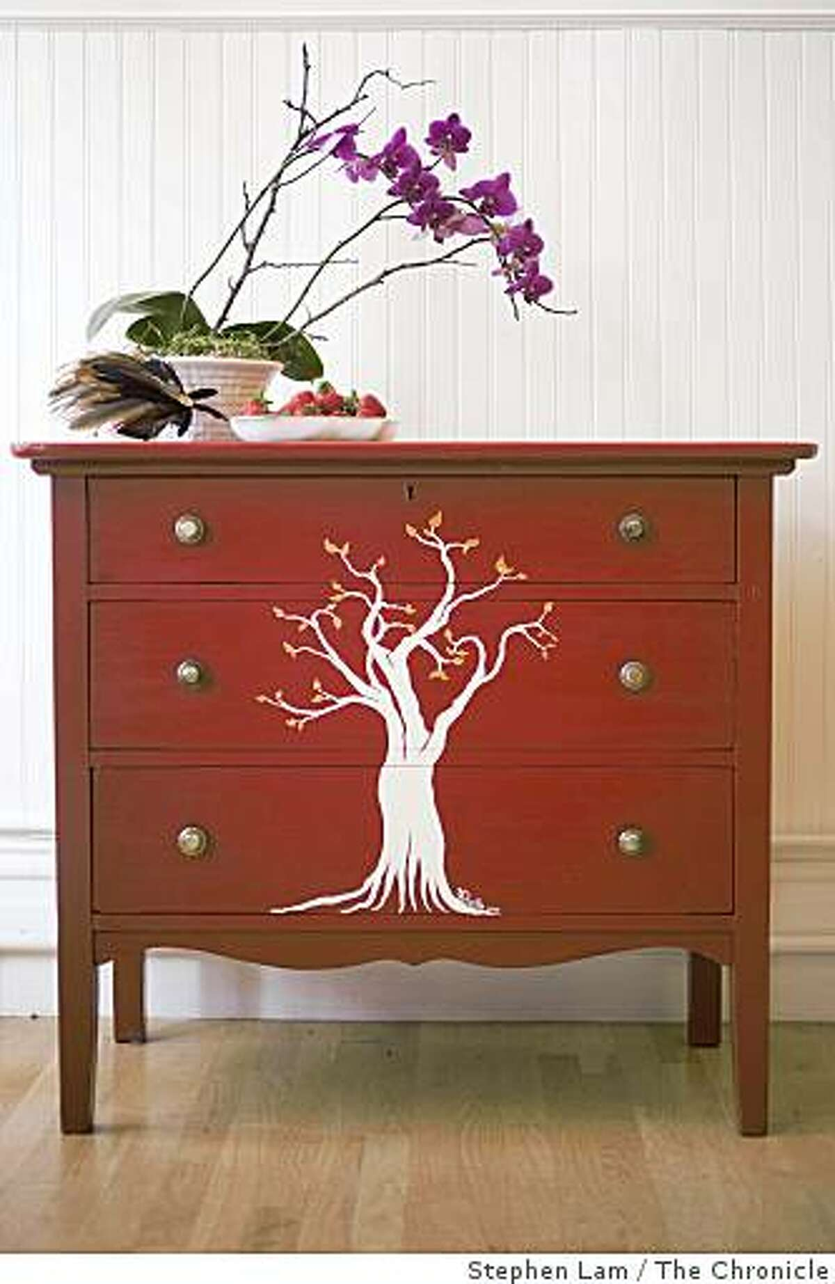 A hand-painted Two Hearts Trees dresser at Swankety Swank, a gallery boutique store along the Divisadero Corridor in San Francisco Wednesday, June 24, 2009.