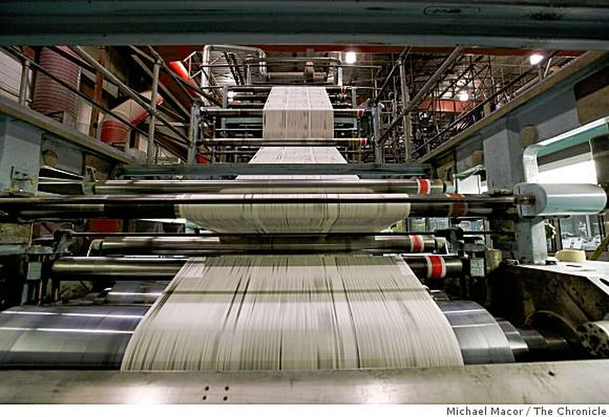 Sunday sections of the San Francisco Chronicle roll through the presses, the last papers to be printed at the Union City printing plant, on Saturday July 4, 2009, before operations are moved to a new state-of-the art facility in Fremont.