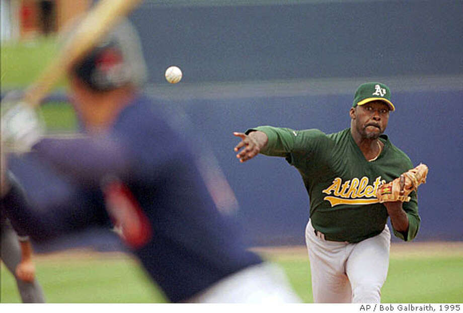 Oakland Athletics pitcher Dave Stewart, right, delivers a pitch against Steve Finley of the San Diego Padres during the first inning of their Cactus League game in Peoria, Ariz., Monday April 17, 1995. Stewart yielded four walks in two innings and the Athletics lost to the Padres, 8-7. (AP Photo/Bob Galbraith)  Ran on: 02-29-2008  Dave Stewart, who retired at the rather normal age of 38 with the expected lineup of aches and pains, said he never considered taking steroids.  Ran on: 02-29-2008 Ran on: 02-29-2008 Ran on: 02-29-2008 Photo: BOB GALBRAITH