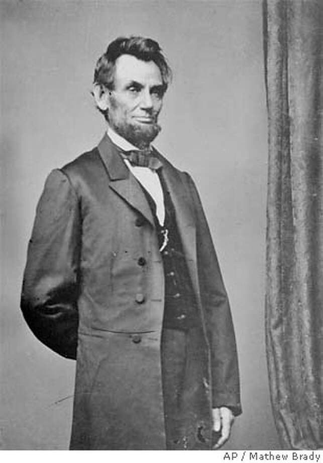 ** FILE ** President Abraham Lincoln poses for a portrait in this undated file photo. Lincoln has been labeled the nation's greatest president by the American people, according to a recent poll. (AP Photo/Mathew Brady) Ran on: 02-21-2005  Jason Bezis displays evidence that the name of the holiday in question is, well, questionable. Ran on: 02-21-2005  Jason Bezis displays evidence that the name of the holiday in question is, well, questionable. Ran on: 02-21-2005  Jason Bezis displays evidence that the name of the holiday in question is, well, questionable.  ALSO Ran on: 05-14-2006  Garbo in &quo;Queen Christina&quo;: Herbert Stothart composed.  ALSO Ran on: 02-11-2007 Ran on: 02-11-2007 UNDATED BLACK AND WHITE FILE PHOTO Photo: MATHEW BRADY