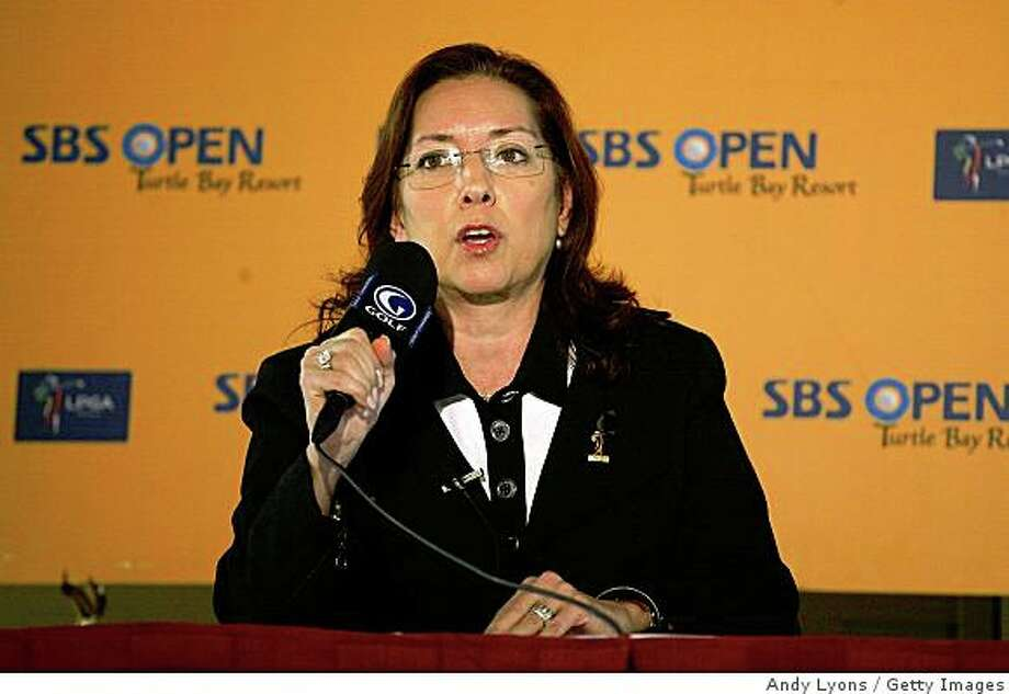 Carolyn Bivens the LPGA Commissioner talks with the media about the 10 year television deal with the Golf Channel for exclusive cable coverage of the LPGA Tour during the SBS Open on February 11, 2009 at the Turtle Bay Resort in Kahuku, Hawaii. Photo: Andy Lyons, Getty Images