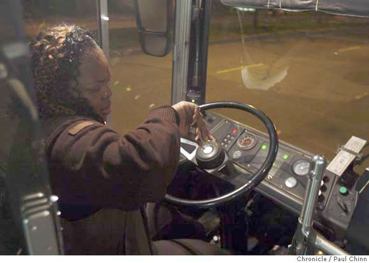 Rochelle Fuller checks her watch before starting the first run of the day on the 44-O'Shaughnessy Muni bus line in San Francisco, Calif. on Friday, Feb. 15, 2008. Photo by Paul Chinn/San Francisco Chronicle MANDATORY CREDIT FOR PHOTOGRAPHER AND S.F. CHRONICLE/NO SALES - MAGS OUT