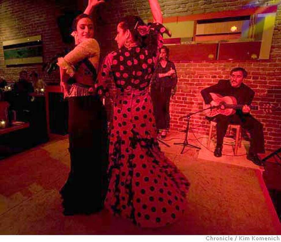 "The Thirsty Bear brewpub on Howard Street in San Francisco is the scene of ""The Flamenco Room "" every Sunday night. Dancers Fanny Ara (L) and Kerensa DeMars perform as guitarist Jorge Liceaga plays. Photo by Kim Komenich/The Chronicle  Ran on: 02-24-2008  The Flamenco Room at Thirsty Bear Restaurant & Brewery in San Francisco, where dancers Fanny Ara (left) and Kerensa DeMars perform to the music of singer Patricia Velasquez and guitarist Jorge Liceaga. Photo: KIM KOMENICH"
